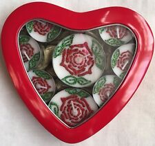 8 Scented Red Glitter Rose Design Tea Light Candles In Red Heart Gift Tin.