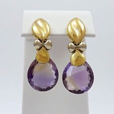 18k Two Tone Gold Briolette Natural Amethyst Dangle Omega Back Earrings 12.4gr
