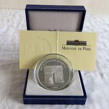 FRANCIA 1993 Arco di Trionfo 100 FRANCHI/15 EURO ARGENTO PROOF-boxed/COA
