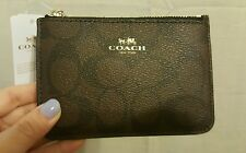 NWT Coach Signature Key Pouch Wallet PVC Brown/Black F63923 $65