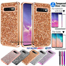 Samsung Galaxy S10/S10e/ S10 Plus Case Cover Glitter Bling +HD Screen Protector