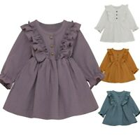 Toddler Kids Baby Girls Solid Linen Button Ruffle Princess Party Dress Clothes