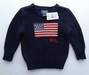NWT Polo Ralph Lauren 2 2T Knit Sweater Pullover Hunter Navy American Flag RL
