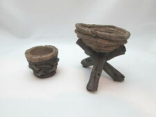 Fairy Garden / Dollhouse Miniature Wood Look Footed Flower urn & Planter