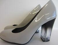 Anne Michelle f9921 Gris Zapatos De Salón Charol Con Transparentes Tacones uk3-7