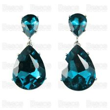 CLIP ON EARRINGS vintage FACETED GLASS CRYSTAL DROP peacock blue/silver teardrop