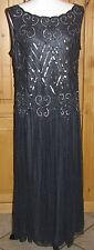 New PISARRO NIGHTS Beaded Drop Waist Mesh Dress Gown Slate Navy Blue 4 P