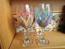 Very pretty hand painted Libbey beverage wine goblets glasses