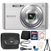 Sony DSC-W830 20.1MP Point and Shoot Digital Camera Silver + 16GB Accessory Kit
