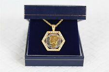 Gold Plated Silver Mercury Dime Necklace Pendant Rare Collectible w Gift Case