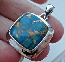 Superb Stylish Sterling Silver and Copper Filled Turquoise Pendant