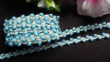 Rose Bud Trim blue 3/8  Inch wide selling by the yard