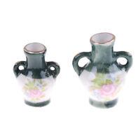 2PCS 1:12 Dollhouse Mini Chinese Traditional Ceramics Vase Miniature Decor HF