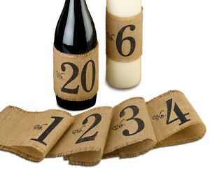 Burlap table number wraps (numbers 1-20) Vintage Rustic Country wedding theme