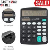 Solar Battery Desktop Calculator Basic 12-Digit Large Display Office Business US