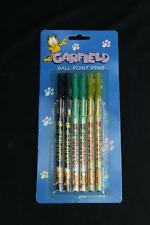 Brand New NIP NOS Vintage Garfield 6 Pack Ball Point Pens Stationary