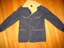 Vtge Sherpa Lined Sears Roebucks Western Denim Trucker Chore Jean Jacket Men 34R