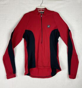 Castelli Cycling Long Sleeve Jersey Biking Mens 2XL Red Half Zip Logo