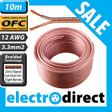 10m 12AWG (3.3mm2) Speaker Cable Roll 100% Pure OFC - 12 Guage Wire Audio Cord