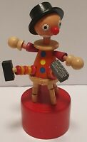 Wooden Clown Joker Push Button Puppet Movable Jointed Game Push-Up Toy Red
