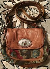 FOSSIL MADDOX WOVEN LEATHER CROSSBODY MESSENGER SHOULDER BAG PURSE AZTEC HTF!