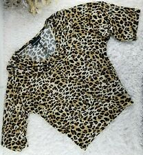 Isabella Rodriguez leopard print batwing blouse SIZE M cowl neck stretchy (M)