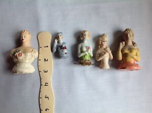 Lot Of Five Antique Japanese Flapper Colonial Half Dolls
