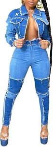 DINGANG Retro Stitching Washed Denim Suit 2 Piece Outfits Skinny Jeans Pant Sets