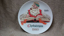 """NORMAN ROCKWELL 1980 """"CHECKING HIS LIST"""" CHRISTMAS PLATE Free Shipping CLEAN"""