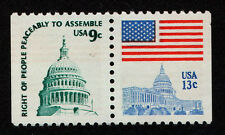 UNITED STATES, SCOTT # 1623D, ATTACHED PAIR OF FLAG OVER CAPITOL, MNH PERF 11