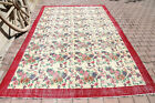 7.2x10.5, Turkish Vintage Floral Area Rug, Boho Chic Faded Beige Red Bordered