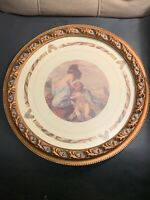 Robert Grace Ornate Circular Gilt Frame with Print of Angel & Young Woman VTG