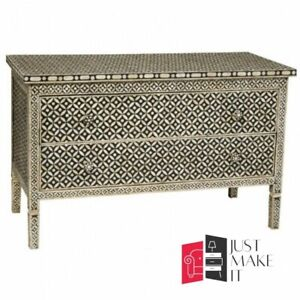 Bone Inlay Chest of Drawer sideboard Black and White (MADE TO ORDER)