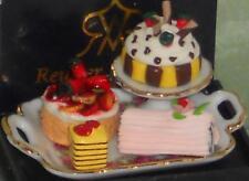 Tablett mit 4 Kuchen, Reutter-Miniatur 1:12