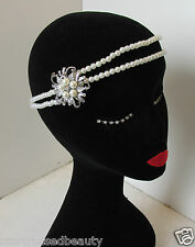 Ivory White Silver Pearl Headpiece Flapper 1920s Vtg Great Gatsby Headband O56