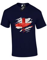 ENGLAND FLAG SLASH MENS T SHIRT PATRIOTIC FOOTBALL FAN TOP COOL DESIGN (COLOUR)
