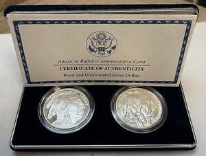 2001 US Buffalo Proof & Uncirculated Silver Dollar 2 Coin Set W/Box & COA