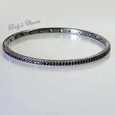 Judith Ripka Blackened Sterling Silver Black Spinel Bangle Bracelet Small