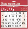 2020 Calendar easy / one Month To View Red & Black Planner Wall Office New EMTV