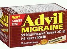 2x Advil Migraine Ibuprofen Pain Reliever 200mg 80 Liquid Filled Capsules No box
