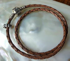 "GENUINE~*PANDORA*~DOUBLE BROWN LEATHER~BRACELET with ONE ""BOW"" CHARM~ 35.5CM"