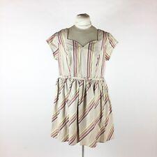 Eshakti Beige Striped Dress Sz 12 Sweetheart Neck Pleated Short Summer Pockets