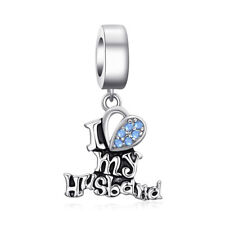 JewelryPalace I Love My Husband Created Blue Nano 925 Sterling Silver Charm