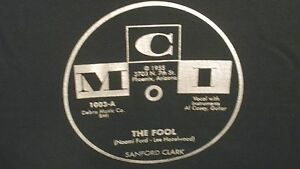 """Cool SANFORD CLARK """"The Fool"""" b/w """"Lonesome For A Letter"""" MCI T-SHIRT Brand New!"""