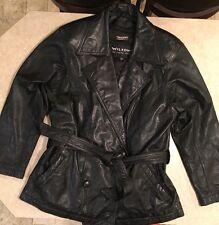 Women's Black Leather Coat Size Medium