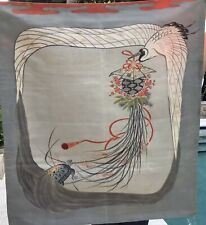Japanese Silk Fukusa Embroidery with Crane and Turtle
