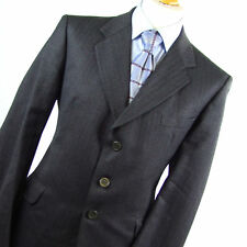 Burton Mens Grey Suit 44/40 Regular Single Breasted Wool Striped