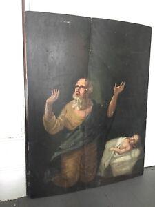 Fabulous Antique Vtg 19c Victorian Original Folk Art Painting Baby Child and Man