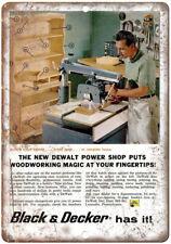 "DeWalt Black & Decker Power Shop Woodworking  - 10"" x 7"" Retro Look Metal Sign"