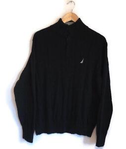 Men's Nautica 1/4 Button Up Black Cotton Jumper M